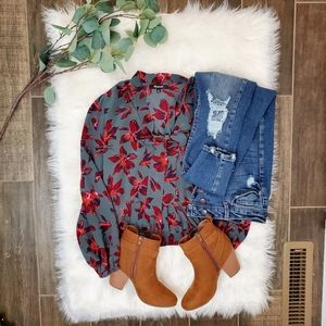 Madewell Silk Floral Wrap Bow Tie Top